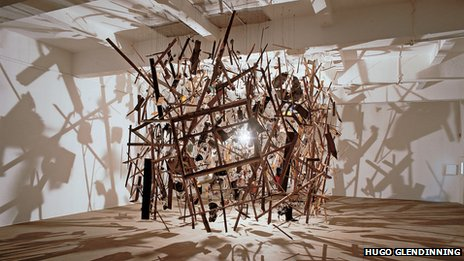 Cornelia Parker, Cold Dark Matter: An Exploded View, 1991