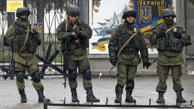 Russian-speaking soldiers outside a Ukrainian military base near Simferopol, Crimea