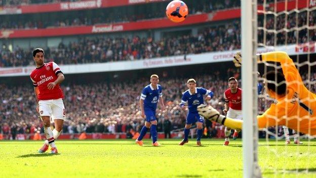 Arteta scores a penalty for Arsenal