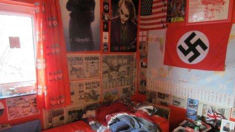 Swastika flag above Michael Piggin's bed