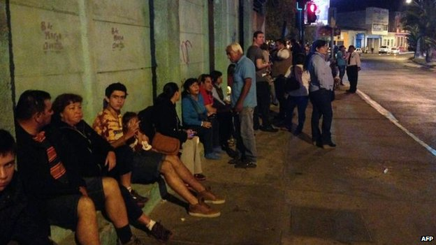 People take refuge in the Chilean coastal city of Antofagasta, 1 April