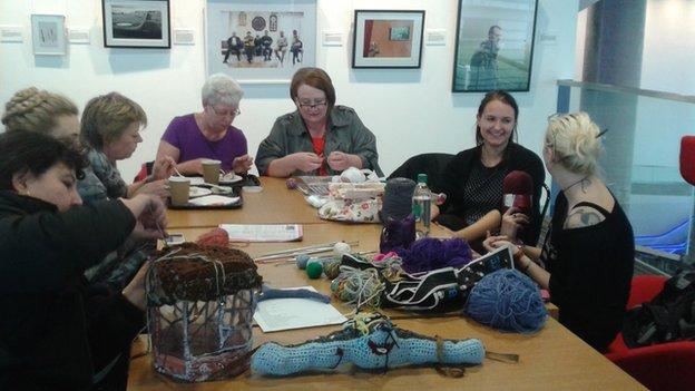 Women attending a knitting session