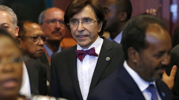 Belgium's Prime Minister Elio Di Rupo (C) arrives at the European Union- Africa summit in Brussels on 2 April 2014