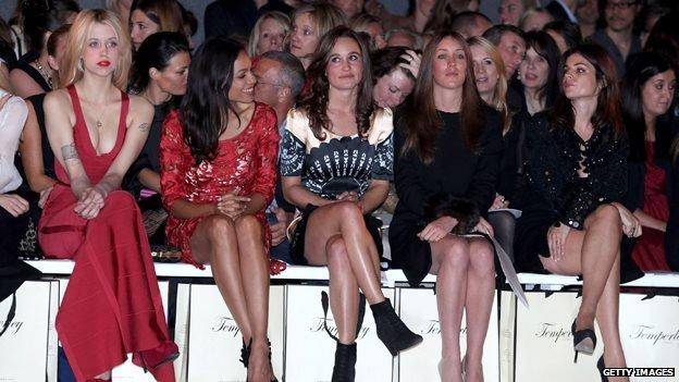 Peaches Geldof, Rosario Dawson and Pippa Middleton at London Fashion Week