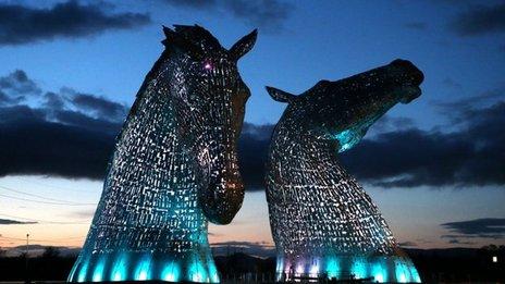 The Kelpies horse head sculptures lit up for sneak peek  BBC News