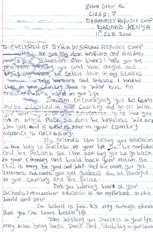 "The front of Zahra's letter, advising the Syrian refugees to work hard and ""be polite"""