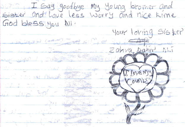 "Zahra's letter on the back, which included a drawing of a flower with the words ""I love my country"""
