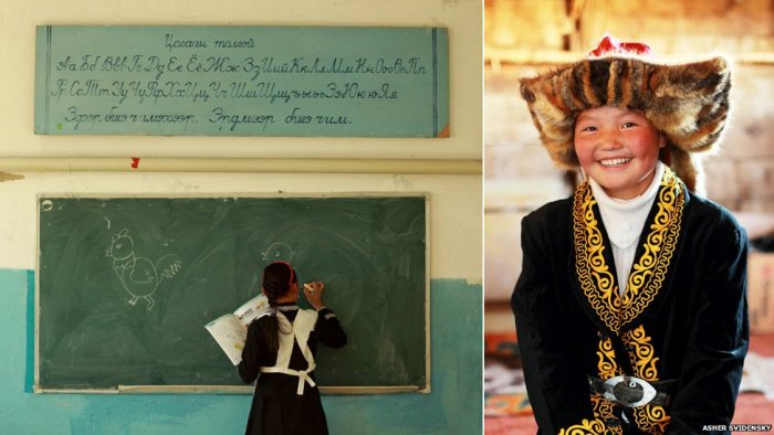 Ashol-Pan at school and a portrait image of her