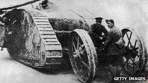 A British tank in WW1