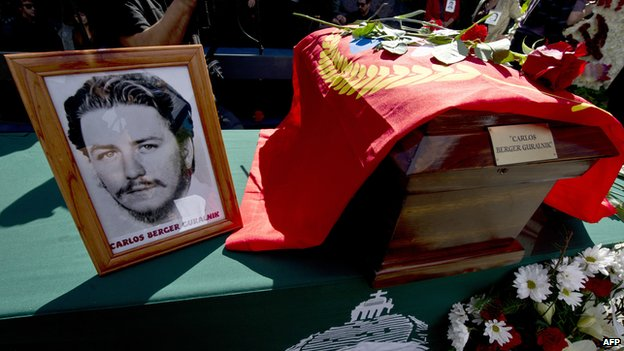 The remains of journalist Carlos Berger during a ceremony on April 13, 2014.