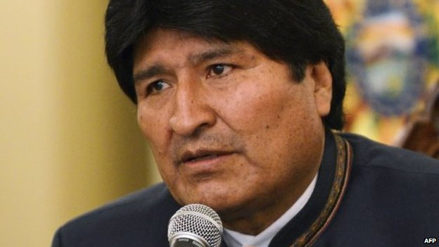 Evo Morales speaking at a news conference on 16 April, 2014