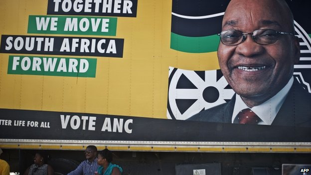 ANC supporters sit by a campaign truck as people leave after listening to President Jacob Zuma delivering a speech at a rally at Umasizakhe stadium in the Eastern Cape city of Graaf-Reinet on 10 April 2014