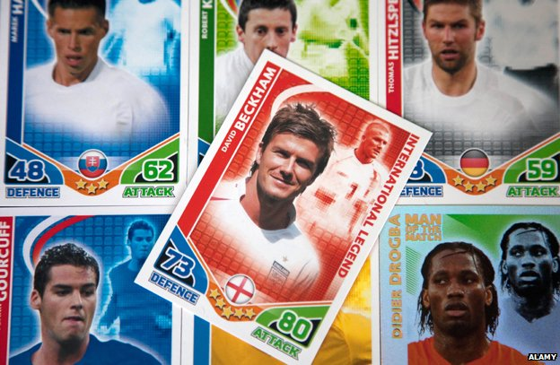 Match Attax cards with David Beckham in centre