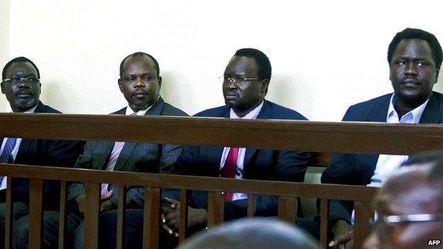 From right to left: former ambassador to the US Ezekiel Lol Gatkuoth; former Defence Minister Majak D'Agoot; former SPLM secretary-general Pagan Amum; and ex-National Security Minister Oyai Deng Ajak during their trial in Juba - 11 March 2014
