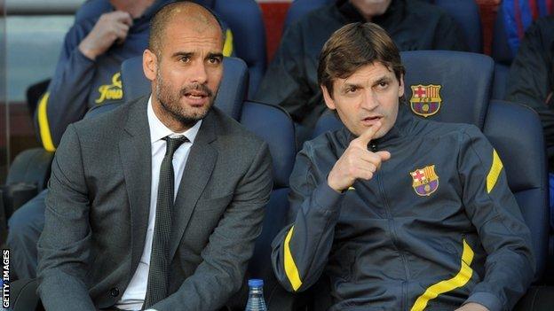 Pep Guardiola and Tito Vilanova