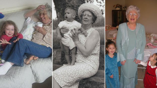 Ann Hunt, the twins' mother Alice Lamb and Elizabeth Hamel with their grandchildren