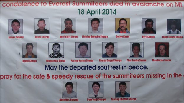 A poster showing the 16 Sherpa climbers killed in the avalanche