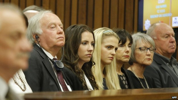 Family members of the South African Paralympic athlete Oscar Pistorius attend his murder trial