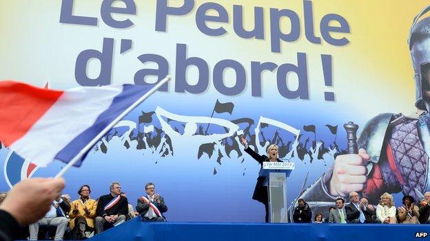 Marine Le Pen at 1 May rally in Paris