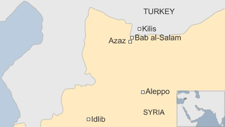 Map showing Bab al-Salam crossing between Turkey and Syria