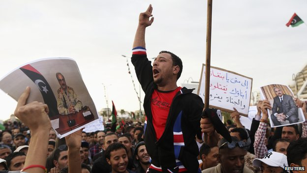 Gen Haftar hails from the city of Benghazi, where some residents have held demonstrations in support