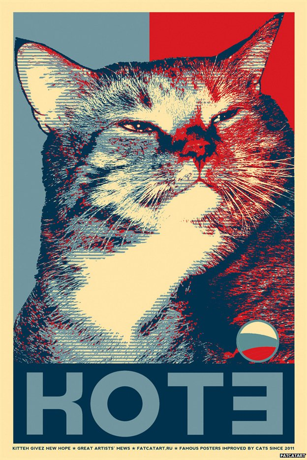 Kitteh givez new hope, based on Shepard Fairey's Hope