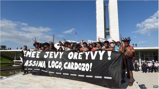 Indigenous protest in Brasilia, Brazil