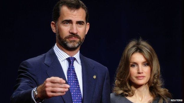 Spain's Crown Prince Felipe and his wife Princess Letizia