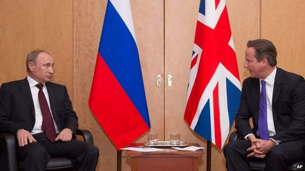 Vladimir Putin and David Cameron in Paris - 5 June