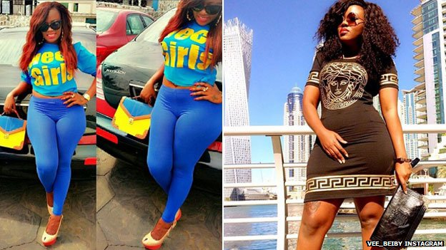 Two photos of Vera Sidika from her Instagram page a few months ago where her skin appears darker