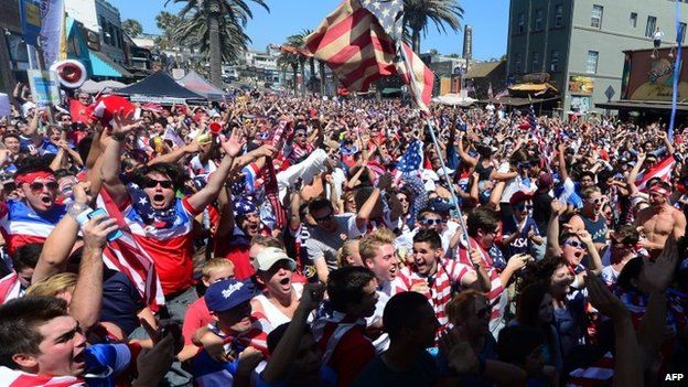 US soccer fans watching from the pier at Hermosa Beach, California 16 June 2014