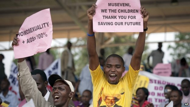 Ugandans supportive of their government's anti-gay stance attended a march in Kampala, Uganda, on 31 March 2014
