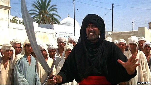 Stuntman Terry Richards as the Cairo Swordsman in Raiders of the Lost Ark