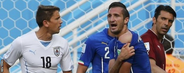 Giorgio Chiellini was incensed after the incident, which happened just before Uruguay scored