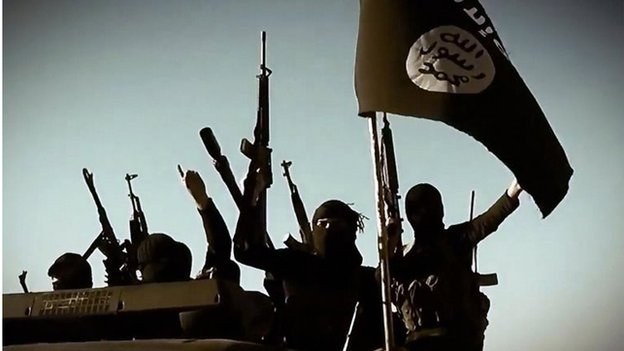 Isis fighters in Anbar province (file photo)