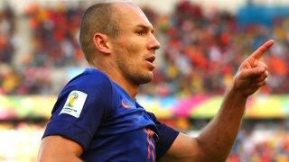 Arjen Robben celebrates scoring against Australia