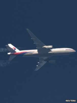 A Boeing 777 Malaysian Airlines flies over Poland in this file photo taken 5 February  2014.