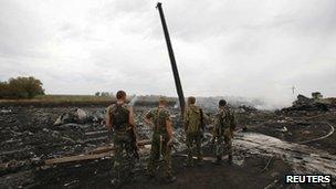 pro-Russian separatists at crash site