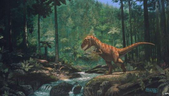 Dinosaurie i skog