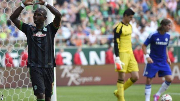 Werder Bremen's Eljero Elia celebrates after scoring against Chelsea.