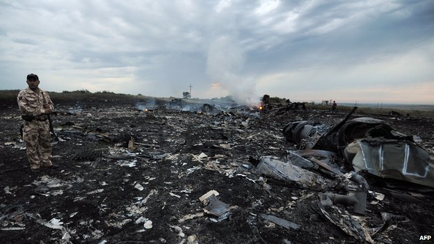 A man stands in the debris of MH17