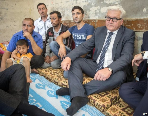 German Foreign Minister Frank-Walter Steinmeier meets Yazidi refugees in Irbil, northern Iraq, 16 August