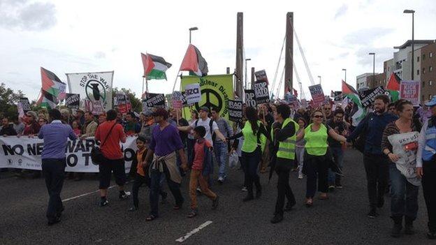 protestors march on Celtic manor  NATO venue