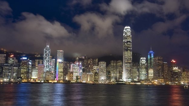 General night-time view of the Hong Kong cityscape across Victoria Harbour from Kowloon Peninsula, 17/07/2011
