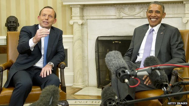 President Barack Obama and Prime Minister Tony Abbott of Australia meet with reporters following a bilateral meeting in the Oval Office the White House on 12 June, 2014
