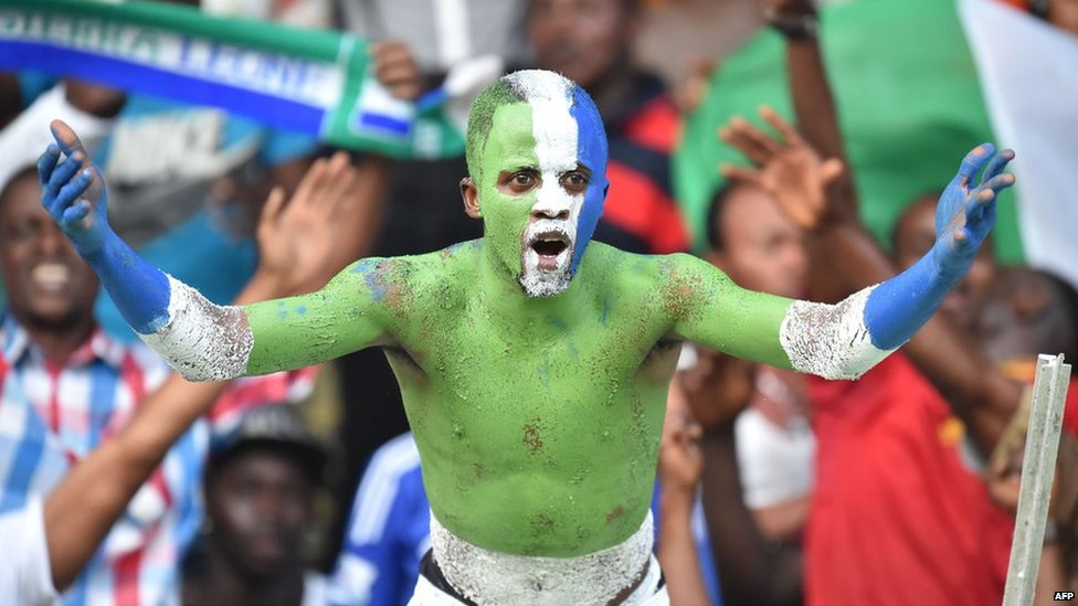 A supporter of Sierra Leone reacts during the 2015 African Cup of Nations qualifying football match between Ivory Coast and Sierra Leone on 6 September 2014 at the Felix Houphouet-Boigny stadium in Abidjan