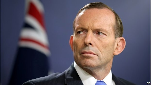 Australian Prime Minister Tony Abbott briefs media in Sydney, 19 Sept 2014