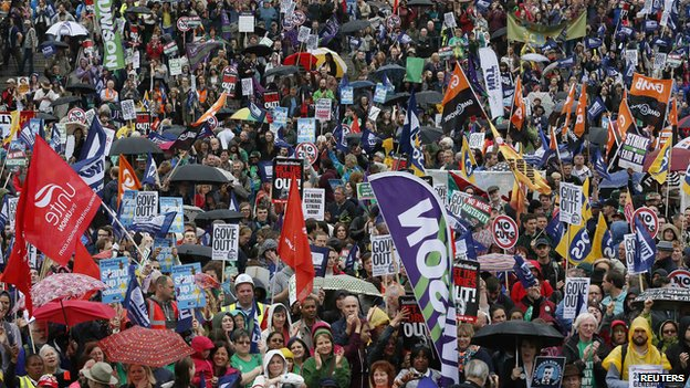 Unions protest in London 10 July 2014