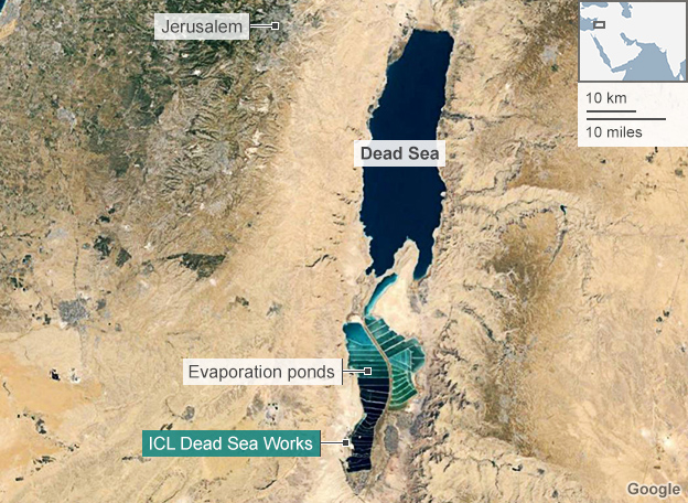 Satellite image of the Dead Sea and  evaporation ponds