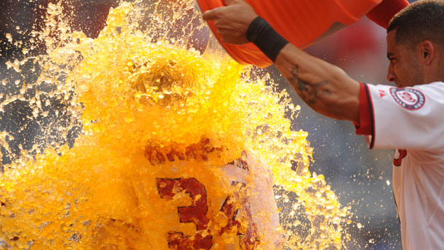 Gatorade being poured over a sportsman
